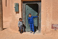 Arabic boys in the street of morocco young playing a typical small town africa Royalty Free Stock Image