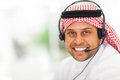 Arabic businessman headphone with in office Stock Photo