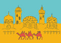 Arabic city vector illustration with and camel s caravan Royalty Free Stock Photos