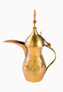 Arabic coffe pot golden coffee isolated on white Stock Photos