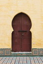 Arabic door oriental styled in meknes morocco Stock Photo