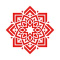 Arabic flower in red color. Vector mandala floral design. Abstract round symbol. Eastern decorative element. Modern idea for decor