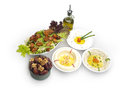 Arabic food of hommos labneh fattoush dates served during ramdan Stock Photography