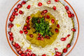 Arabic food Hummus with pomegranate Royalty Free Stock Photo
