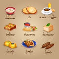 Arabic Food Icons Set Royalty Free Stock Photo
