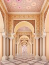Arabic,Islamic architectural detail in columns and arches of mosque. Royalty Free Stock Photo