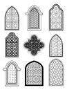 Arabic or Islamic traditional architecture, set of window Royalty Free Stock Photo