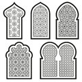 Arabic or Islamic windows set Royalty Free Stock Photo