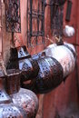 Arabic lamps on walls, bazaar, in souk Royalty Free Stock Photo