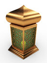 Arabic lantern with floral motifs in shiny gold green glass Stock Photography
