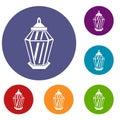 Arabic lantern icons set