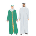 Arabic man male and woman female together in traditional national clothes dress costume. Royalty Free Stock Photo