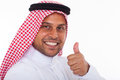Arabic man thumb up happy giving on white background Royalty Free Stock Image