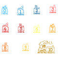 Arabic Numbers, Arithmetic operations and currencies symbols Royalty Free Stock Photo