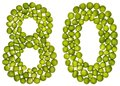 Arabic numeral 80, eighty, from green peas, isolated on white ba Royalty Free Stock Photo