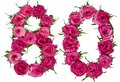 Arabic numeral 80, eighty, from red flowers of rose, isolated on Royalty Free Stock Photo