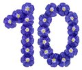 Arabic numeral 10, ten, from blue flowers of flax, isolated on w Royalty Free Stock Photo