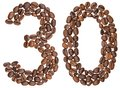 Arabic numeral 30, thirty, from coffee beans, isolated on white Royalty Free Stock Photo