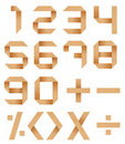 Arabic numerals 0 to 9 from Origami paper Royalty Free Stock Image