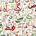 Arabic seamless script pattern with in red blue dark purple crimson and yellow colors Royalty Free Stock Photography