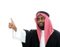 Arabic Sheikh pressing abstract button - Royalty Free Stock Photo