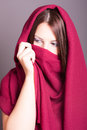 Arabic style portrait of a young beautiful woman covered with veil Stock Photo