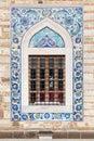 Arabic style tiling pattern decoration of old mosque window izmir turkey Stock Photo