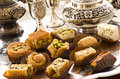 Arabic sweets as closeup on a silver tablet Royalty Free Stock Photos