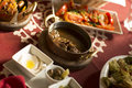Arabic traditional food in gulf middle east arabian tasty set menu meals egyptian on table Royalty Free Stock Images