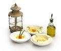 Arabic traditional hummus labneh and mtabbal with ramadan lamp Stock Image