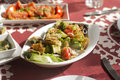 Arabic traditional salad and food in gulf middle east arabian tasty set menu meals egyptian on table Royalty Free Stock Photography