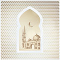Arabic window with the hand drawn sketch of moon and the mosque. Greeting card, invitation for Muslim community holy Royalty Free Stock Photo