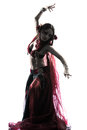 Arabic woman belly dancer dancing silhouette Royalty Free Stock Photo