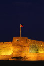 Arad fort in manama bahrain close up at nite Royalty Free Stock Image
