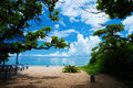 ARAGUSUKU Beach from the Shade of the Trees, Okinawa Prefecture/ Royalty Free Stock Image