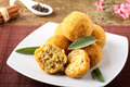 Arancini rice and meat on complex background Royalty Free Stock Image