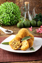 Arancini rice and meat on complex background Royalty Free Stock Images