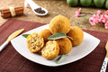 Arancini rice and meat on complex background Royalty Free Stock Photography