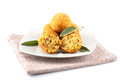 Arancini rice and meat on white background Stock Photos