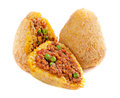 Arancini traditional italian food of rice with fillings covered with bread crumbs and fried Stock Photo