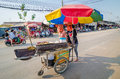 Aranyaprathet thailand women cambudian trolley two cambodians pull cart at the rong kluea market which is attached to the Royalty Free Stock Photo