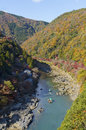 Arashiyama and kamo river in kyoto japan a scene of the at Royalty Free Stock Photo