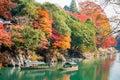 Arashiyama sailing boat in kyoto Royalty Free Stock Photography