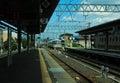 Arashiyama station cloud day at kyoto japan Stock Photos