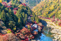 Arashiyama view point of the river and forest in autumn season at japand Royalty Free Stock Photo