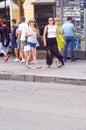 Arbat kwadrat kobiety traffic blisko restauracyjnego praga imienia newsstand Obraz Royalty Free