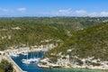 Arbor, boats, landscape and blue sky at Bonifacio, Corsica Royalty Free Stock Photo