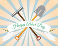 Arbor Day Greeting. Shovel, rake on a gentle background. Vector