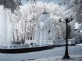 Arbor in infrared called mirror stream with a fountain Royalty Free Stock Photos