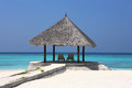 Arbor on maldives beach the beautiful at Royalty Free Stock Image